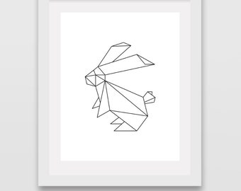 Origami Rabbit Bunny Print Art Animals Nursery Wall Decor Line Prints Minimalist Drawing Black and White Baby Living Room Office Apartment