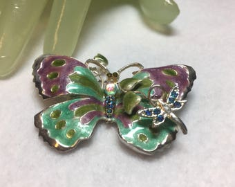 "Vintage 2"" Silvertone Multi Enamel Painted Butterfly Dragon fly Style Costume Jewelry Pin"