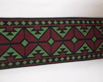 Vintage Belt, Guatemalan Style, Burgundy and Avocado Green,