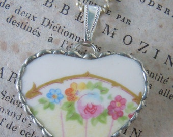 Fiona & The Fig Vintage-Spring Flowers-Pink Rose-Broken China Soldered Necklace Pendant Charm-Jewelry