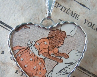 Fiona & The Fig - Vintage-1920 Art Deco-Childrens Book-THREE BEARS- Mama Bear Charm-Soldered Charm-Necklace-Pendant-Jewelry