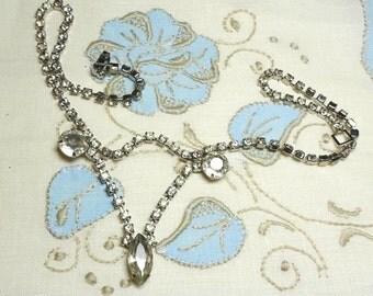 Vintage Rhinestone Necklace,  wedding necklace, drop rhinestone necklace