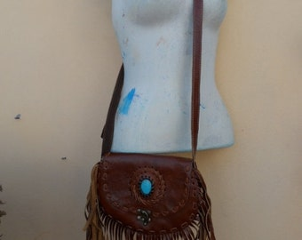 20%OFF bohemian gypsy festival hippy hipster Leather fringed bag with metal latch..........