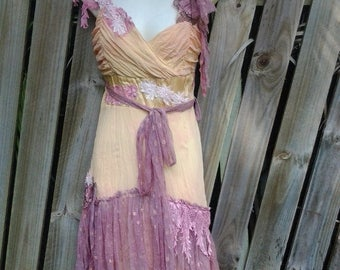 "20%OFF vintage bohemian gypsy formal wedding yellow & pale pink stained chiffon slip dress,,small to 34"" bust..."