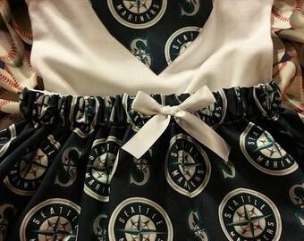 Baby Girl Seattle Mariners Baseball Bodysuilt with skirt