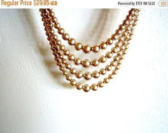 Vintage/ Champagne/ Faux Pearls/ Four Strand/ Rhinestone/Small Pearls/Beige/Cream 29.95