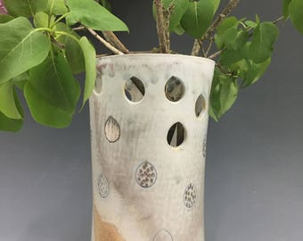 Vase~ raindrop, woodfired, silver luster