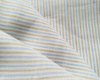 Pure  linen fabric with  regular stripes/ light weight/blue  and light mustard stripes