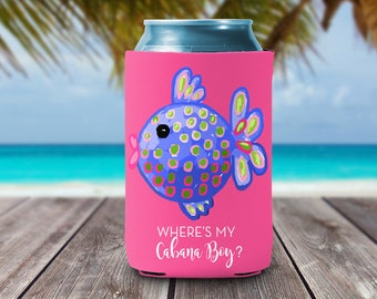 Personalized Can Coolies - Where's my Cabana boy Can Coolers Bridesmaids & Bachelorette Party Favors  - Monogrammed Beer Can Coolers -