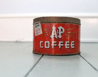 Coffee Time... Vintage  AP Coffee Can, Tin, Planter, Kitchen Decor, Red