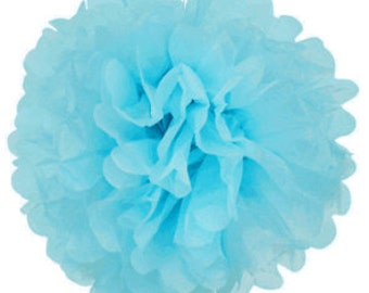 Baby Blue Tissue Pom Pom 4, 6, or 10 inch Set of 2 /Weddings/Showers/Birthdays/Parties