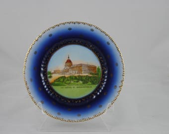 Beautiful Vintage Flow Blue plate The Capitol At Washington D.C Gold trim decor. wall decor Kitchenware collectable Made in Austria
