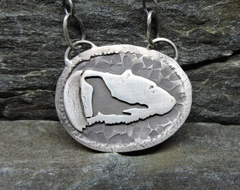 Polar Bear Necklace, Sterling Silver, Bear & Seal, Shadow Series, Made in New Hampshire, Bear Totem, Bear Talisman, SeaLion, Circle of Life