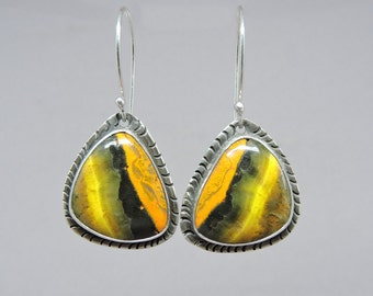 Bumblebee Jasper Earrings, Sterling Silver, Totally Handmade, Modern Yellow earrings, Artisan Made Earrings, Yellow and Black, Bumble Bee