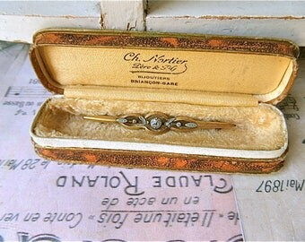 French Vintage Boxed Antique Brooch