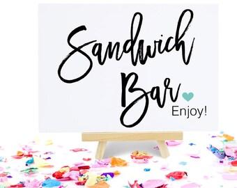 Sandwich Bar Sign, Party Signage, Bridal Shower Decoration, Wedding Reception Buffet - Size 5 x 7, MADI, Printed Sign