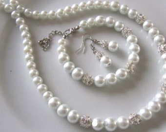 White pearl bridal set with crystal balls