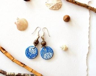 Earrings Summer blue wood clay handmodelling bead