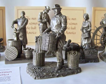 The Men And Women Who Built America COA's Pewter 1977-1978 by Franklin Mint