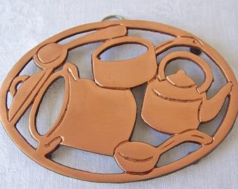 Vintage Copper Plated Trivet Tea Pot Serving Trivet Vintage 1980s