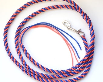 Horse Lead Paracord Round Royal Blue and Orange Rope 9/16 inch Round and 8 feet Long