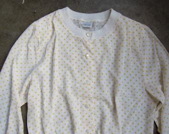 Vtg 80's White Yellow Polkadot Silky Blouse Sweater Top Size Medium Large