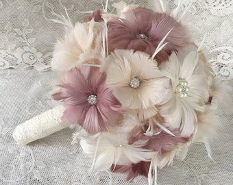 Feather Bridal Bouquet, Wedding Bouquet, Brooch Bouquet, Great Gatsby Feather Bouquet, Dusty Rose Bridal Bouquet, MANY COLORS AVAILABLE
