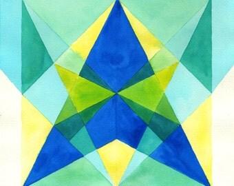 Geometric Watercolor Print, Triangles Watercolor Print, Geometric Art, Triangle Print, Watercolor Print, Wall Art, Home Decor, Modern Print