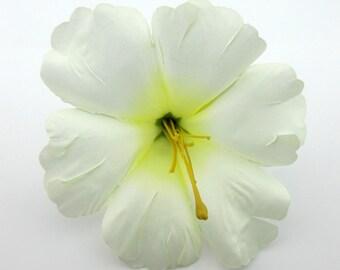 "Tropical 5.5"" Cream White Pink Hibiscus Poly Silk Flower Hair Clip"