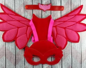 Red Owl super hero set~pajama hero owl wings~ snap bracelet and mask~felt mask~nighttime hero~Halloween~not so scary~owlette hero