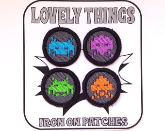 Space Invaders Patches Set of 4