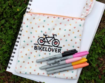 Bike Lover Embroidered Zipper Pouch