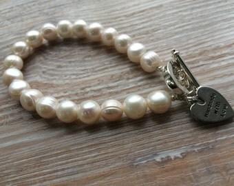 Ivory Fresh Water Pearl Bracelet UK Made (ipb07)