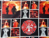 cotton quilt fabric firefighter fireman Dalmatian dog rescue red engine truck BTY bell black extinguisher seal scramble Maltese cross yard