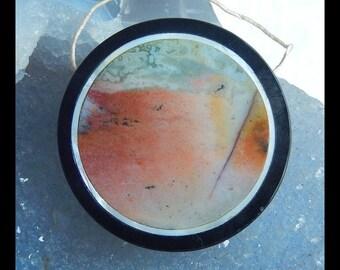 Ocean Jasper, Obsidian  Intarsia Pendant Bead,Round Pendant,40x7mm,21.4g(e0334)