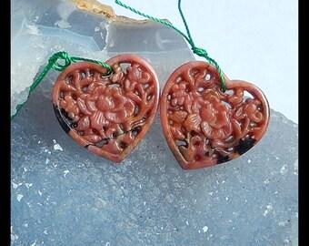 Carved Rhodonite Heart Flower Earring Bead,23x23x3mm,6.8g