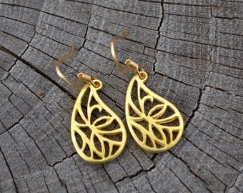 Small Gold Teardrop Wings . Earrings