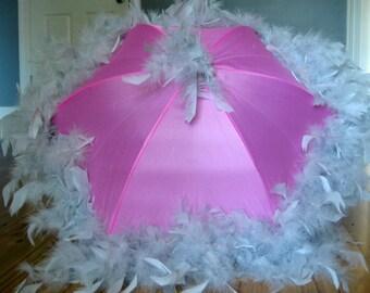 Second Line Umbrella Grey on Pink- Festival Parasol- Feather Umbrella Jazz Fest Fun New Orleans shade bridesmaids bachelorette princess