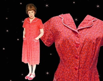 1950s House Dress Reproduction - 80s Vintage Red Liberty Print Holiday House Dress - M/L