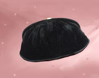 Black Velvet Clutch, 40s Evening Clutch, Black Clutch Purse, 1940s Evening Bag with Mirror, Vintage Mel-Ton Purse, Vintage Formal Clutch
