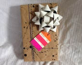 Pantone Color themed Gift Wrap pack with bows & twine / recycled magazine bows / repurposed / splatter wrap / paper gift wrapping