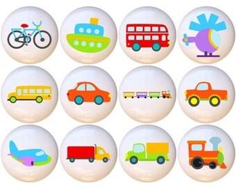 Set of 12 Transportation Cars Trains Planes Ceramic Drawer Pull Cabinet Knobs