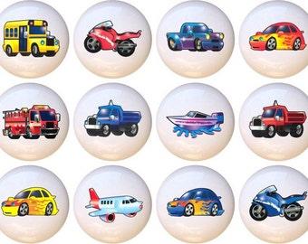 Set of 12 Transportation Kids Cars Trains Planes Ceramic Drawer Pull Cabinet Knobs