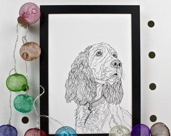 Spaniel Dog Portrait Print