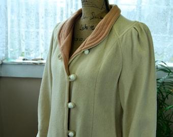 Vintage Beige Women's Wool Coat Overcoat Trench Coat- L