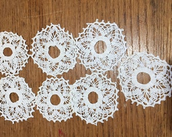 Doily Crochet Lot, Small Doily Crochet Pieces, Vintage Crafting Embellishing Lot