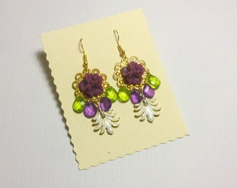 Gypsie big earring, purple, green and gold  * READY TO SHIP*
