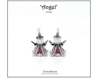 Bead pattern beaded Angel earrings ornament with seed beads, Pip beads, round beads, bicones