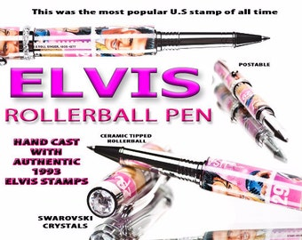 Gift for a Fan of Elvis Presley   Elvis Pen made with Real Elvis Stamps  Collectors Pink High End Rollerball - gifts for women- gift for her