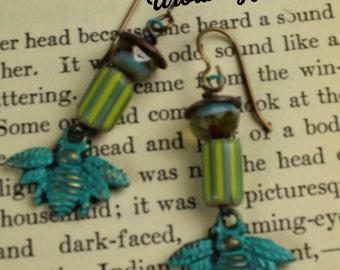 E 171 Patina Bumble Bee Jade Bead Urban gypsy Bohemian Gypsy Dangle Charm Earring